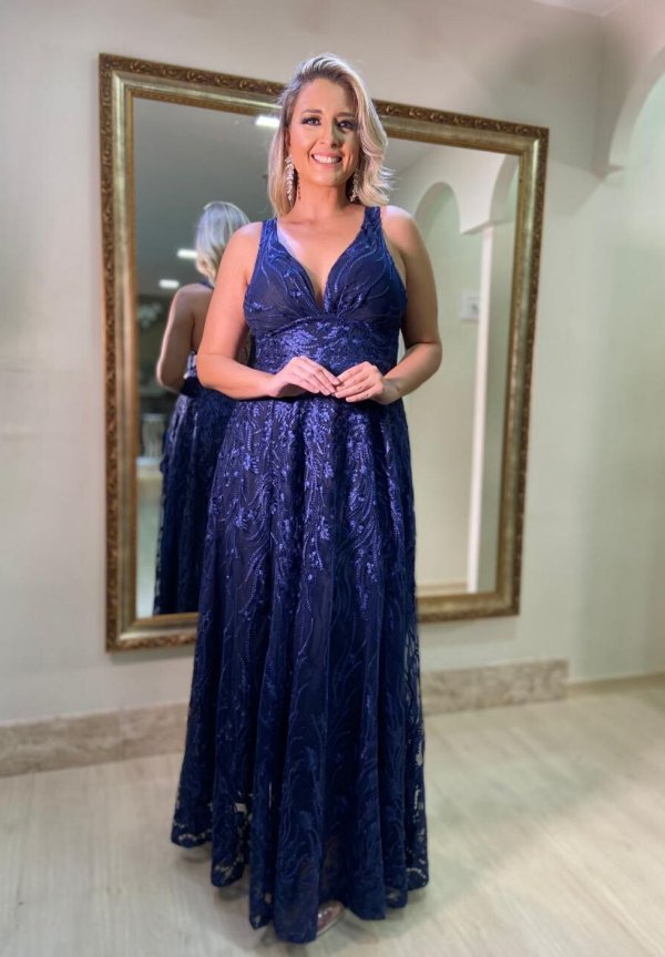 Vestido Renda Charlotte Azul Marinho