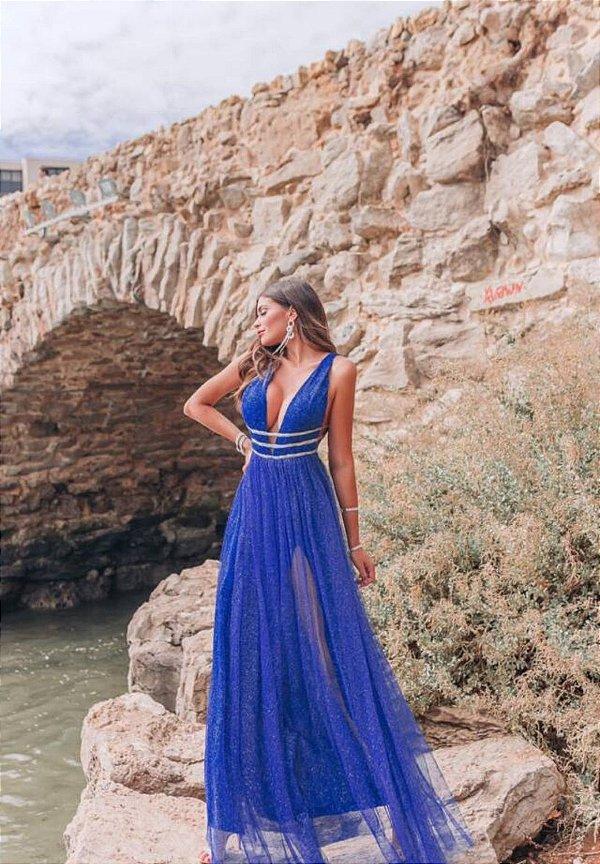 Vestido Esmeralda Azul Royal