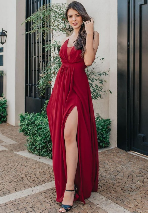 Vestido Flora Marsala