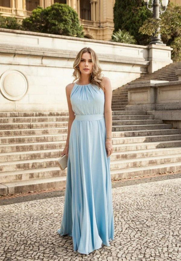 Vestido Faixa Azul Serenity