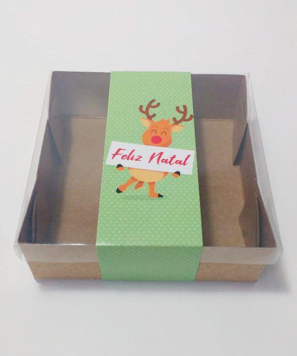 Caixa para 4 brownies com Cinta Natal pct c/20 ud