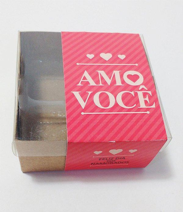 Caixa para 4 Doces c/ cinta Amo Você (pct c/20 unidades)