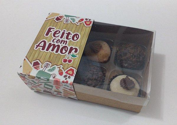 """Caixa para 06 doces com Cinta """"Feito com Amor"""" - Pct c/ 20 unidades"""