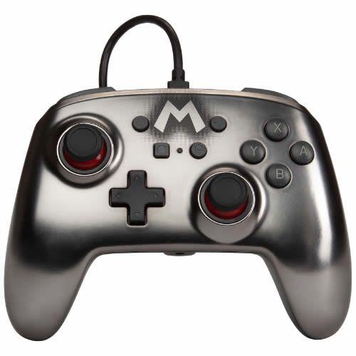 Controle com Fio PowerA Mario Silver - Switch