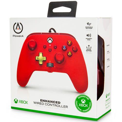 Controle Com Fio PowerA Vermelho - Xbox Series S/X