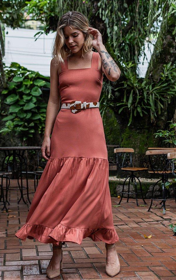 Vestido Valência New Telha Sem Cinto