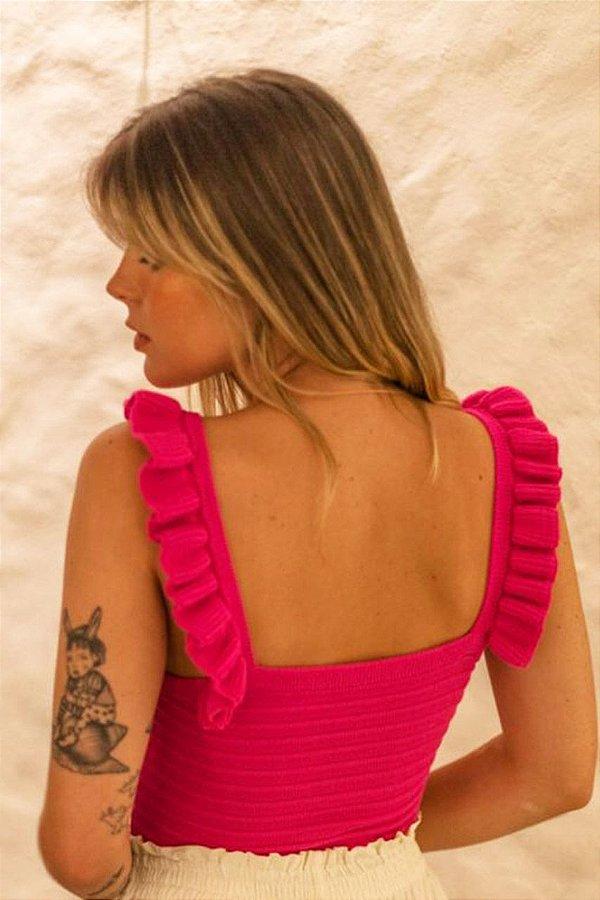 Cropped Tricot Alça Pink