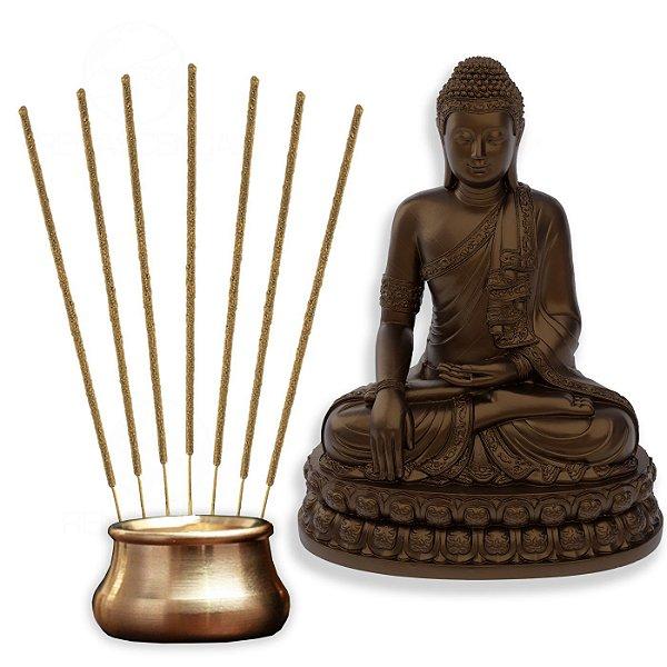 Kit Budismo Meditação Estátua Buda + Incensos + Incensário