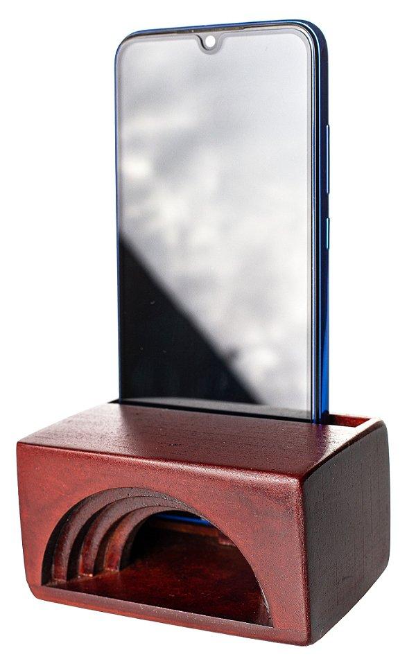 Amplificador Natural Madeira Passivo P/ Som Celular Portátil - Cor Mogno