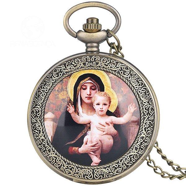 Relógio De Bolso Santa Maria Catolica Corrente Original