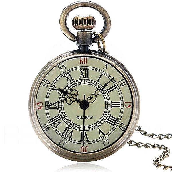 Mini Relógio De Bolso Design Roman Vintage Quartzo