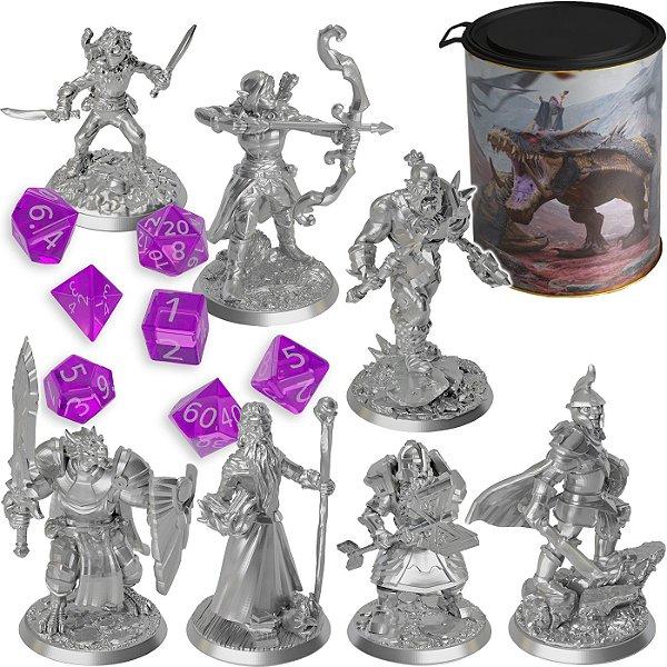 Kit Pack Latinha C/ 7 Miniaturas Rpg Ded Dungeons And Dragons D&d + Jogo de 7 Dados D4 D6 D8 D10 D12 D20
