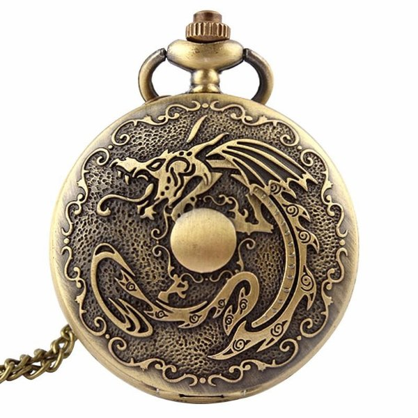 Relógio De Bolso Dragão Horóscopo Chinês Bronze