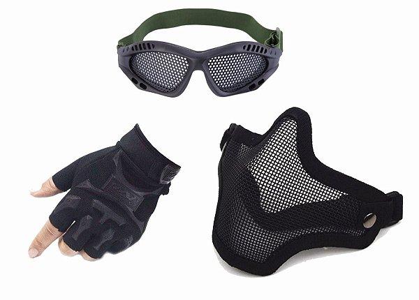 Kit Luva Meio Dedo Slim + Máscara Airsoft + Óculos Telado