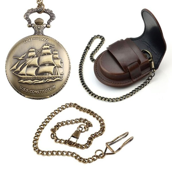 Relógio De Bolso Navio Caravela + Capa De Couro + Corrente