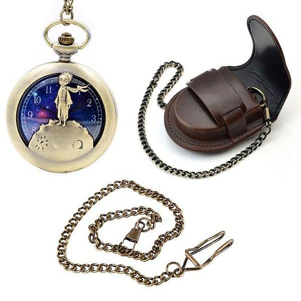 Relógio De Bolso Pequeno Príncipe + Capa De Couro + Corrente