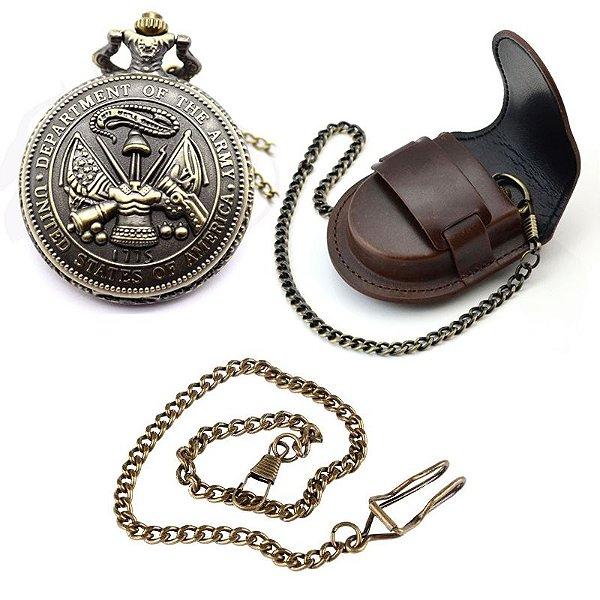 Relógio De Bolso Department Of The Army + Capa + Corrente