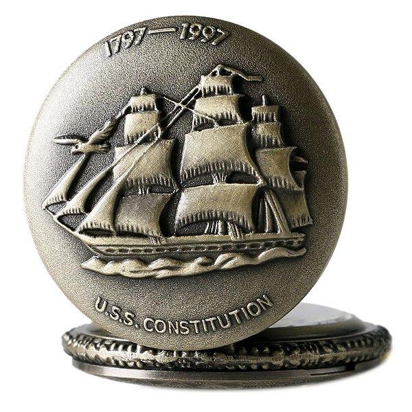 Relógio De Bolso Vintage Navio Caravela America Constitution