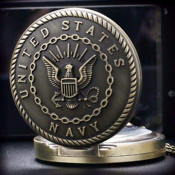 Relógio De Bolso United States Navy Marinha Americana