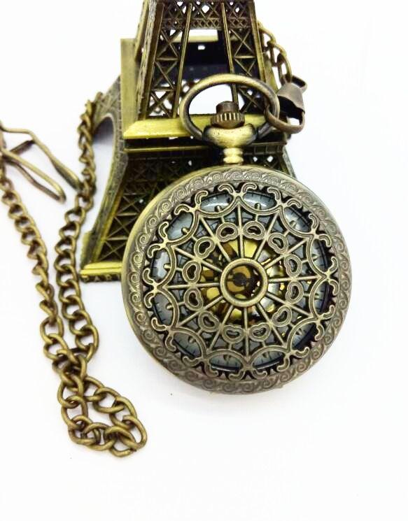 Relógio De Bolso Teia Mecânico Alta Qualidade