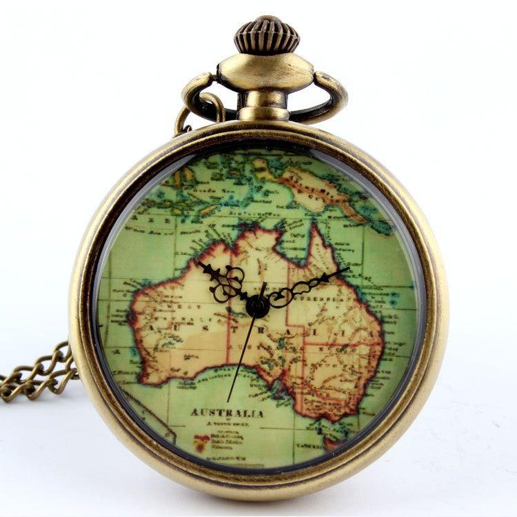 Relógio De Bolso Mapa Da Austrália Vintage Bronze - dourado