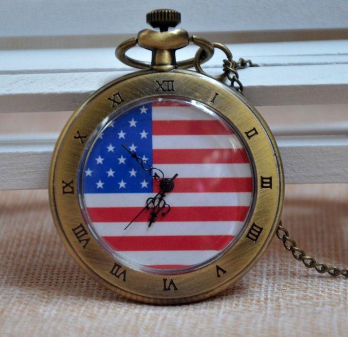 Relógio De Bolso Bandeira Americana Estados Unidos