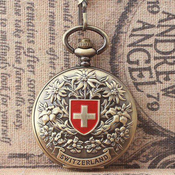 Relógio De Bolso Mecânico Bandeira Suiça