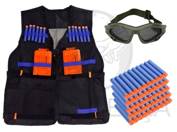 Colete Tático Elite Infantil + Óculos Telado + 50 Dardos Ventosa