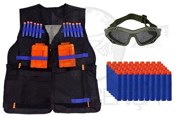 Colete Tático Infantil + 120 Dardos Elite + Óculos Telado