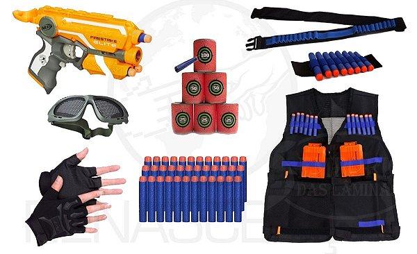 Super Kit Proteção E Diversão Firestrike Nerf Elite E Outros