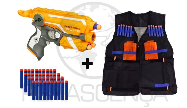 Lançador Firestrike Nerf Hasbro + Colete + 40 Dardos