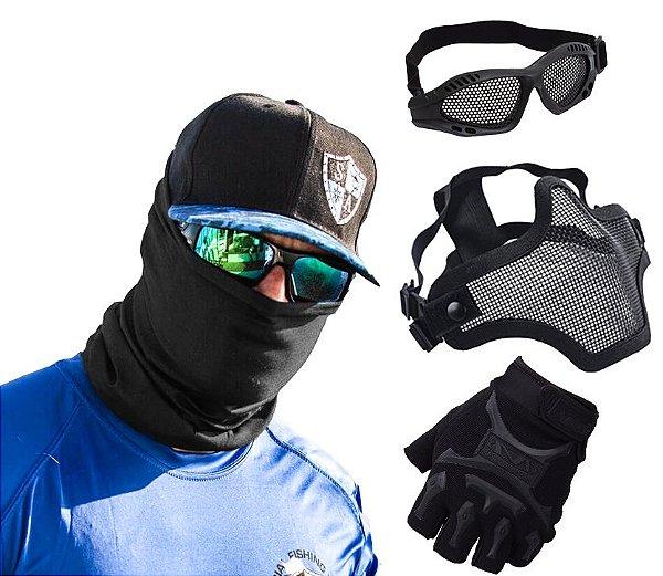 Face Shield Tática + Máscara Telada + Óculos + Luva Airsoft