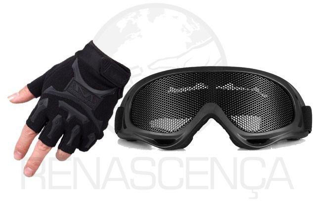 Kit Luva Tática Slim + Óculos Maior Proteção - Preto