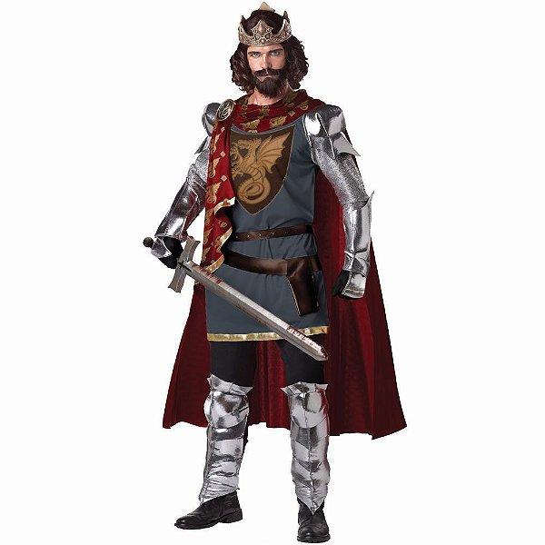 Fantasia Cosplay Rei Arthur Cavaleiro Medieval Festa Luxo