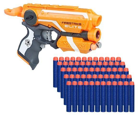 Arma Lançador Nerf Firestrike + 60 Dardos Munição Brinquedo