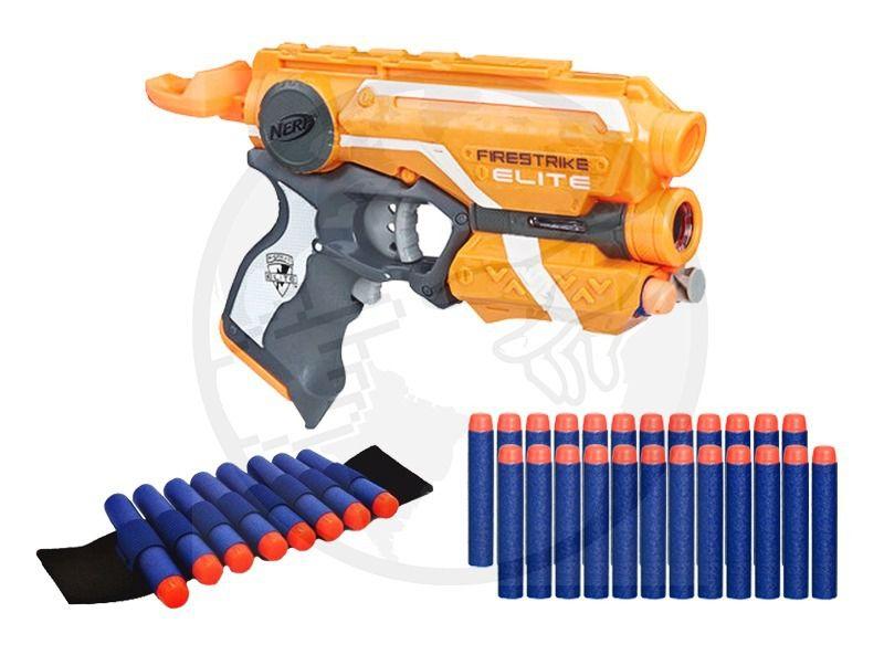 Arma Nerf Firestrike + Pulseira + 30 Dardos Bala Brinquedo