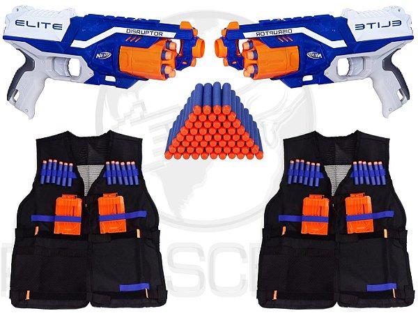 Kit Nerf 2 Lançadores Disruptor + 2 Coletes + 100 Dardos