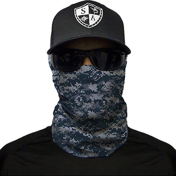Bandana Balaclava Face Shield Camuflagem Digital Azul