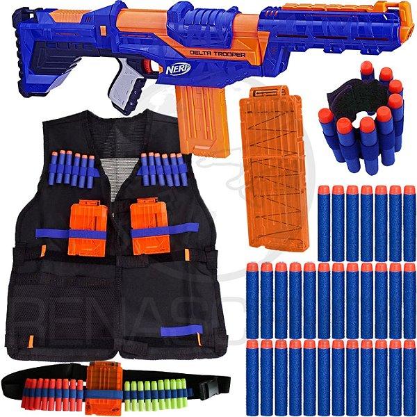 Kit Lançador Nerf Delta Trooper + Colete + Acessórios + 60 Dardos Brinquedo