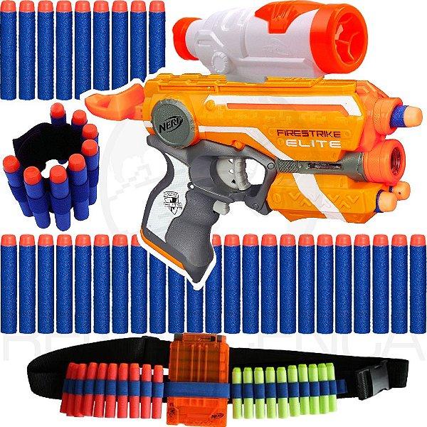 Lançador Nerf Firestrike + Cinto + Pulseira + Scope + 30 Dardos Brinquedo
