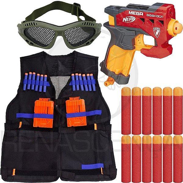 Lançador Brinquedo Nerf Big Shock + Colete Infantil + 18 Dardos Mega
