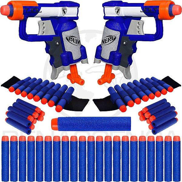 Kit 2 Lançadores Jolt Nerf Brinquedo + 2 Pulseiras + 40 Dardos