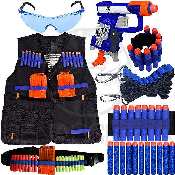 Super Kit Lançador Nerf Jolt + Colete + Acessórios + 40 Dardos Brinquedo