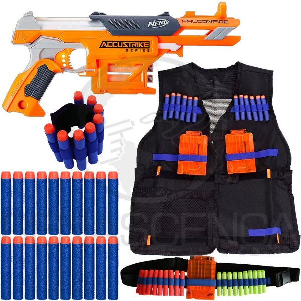 Kit Lançador Nerf Falconfire + Colete + Cinto + Pulseira + 50 Dardos Brinquedo
