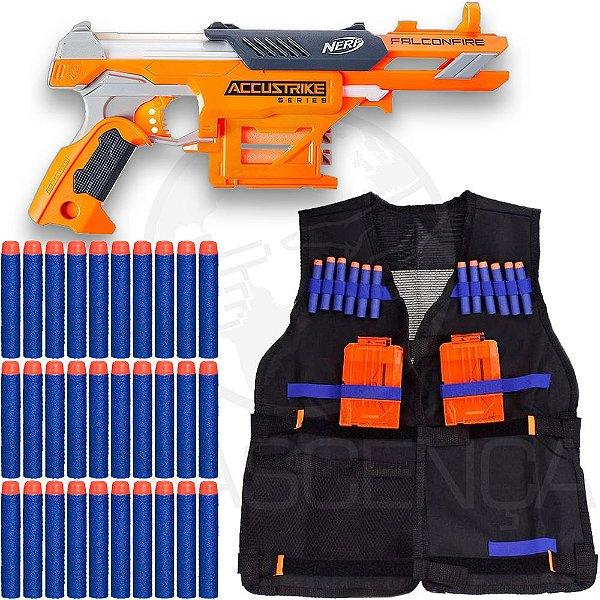 Lançador Falconfire + Colete Infantil + 40 Dardos de Brinquedo