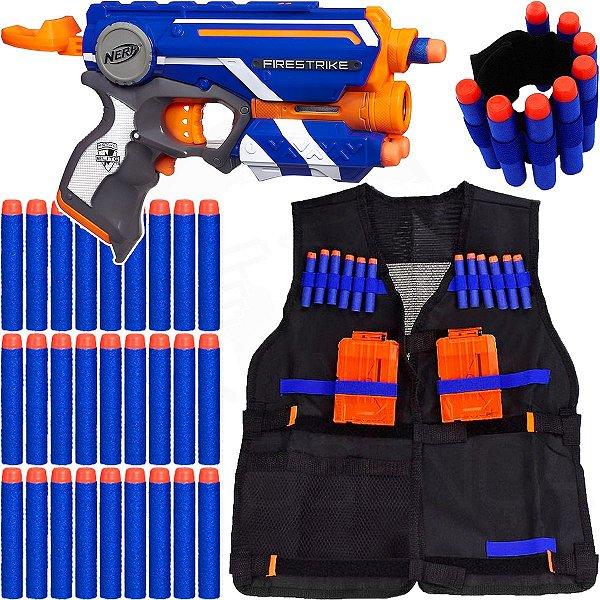 Arma Nerf Firestrike + Colete + Pulseira + 30 Dardos Brinquedo