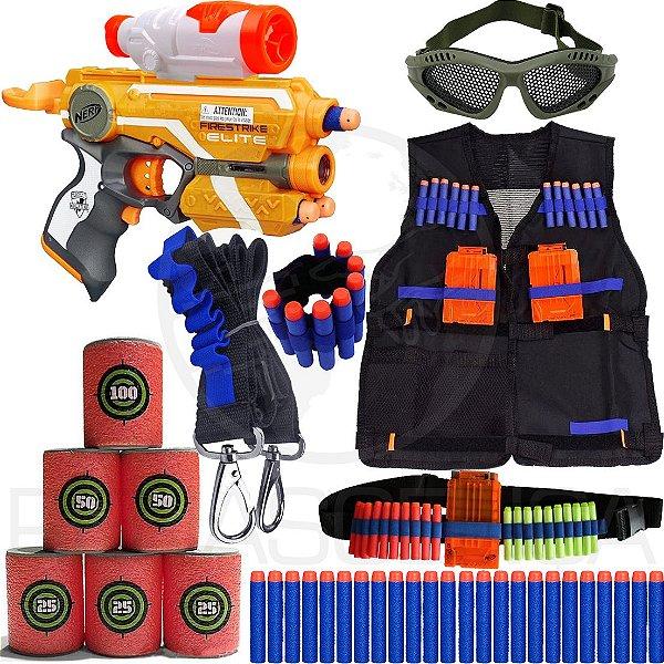 Super Kit Lançador Nerf Firestrike + Colete + Acessórios + 60 Dardos