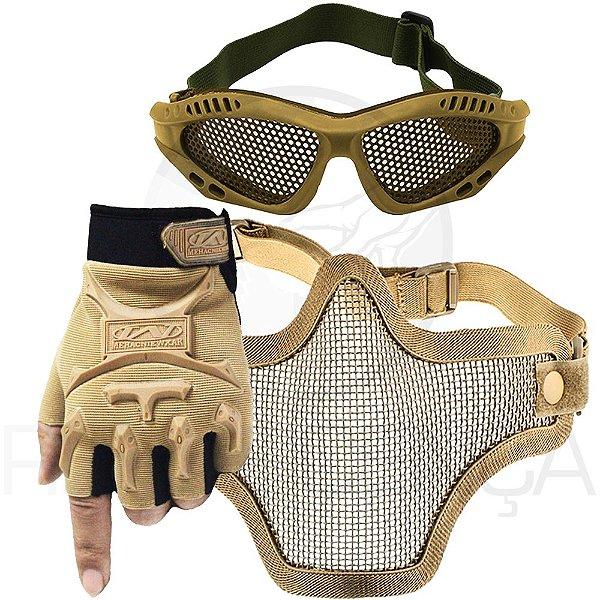 Kit Airsoft Luva Tática Slim Meio Dedo + Óculos Telado + Máscara de Tela - Bege
