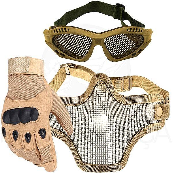 Kit Airsoft Luva Tática Dedo Completo + Máscara de Tela + Óculos Telado - Bege
