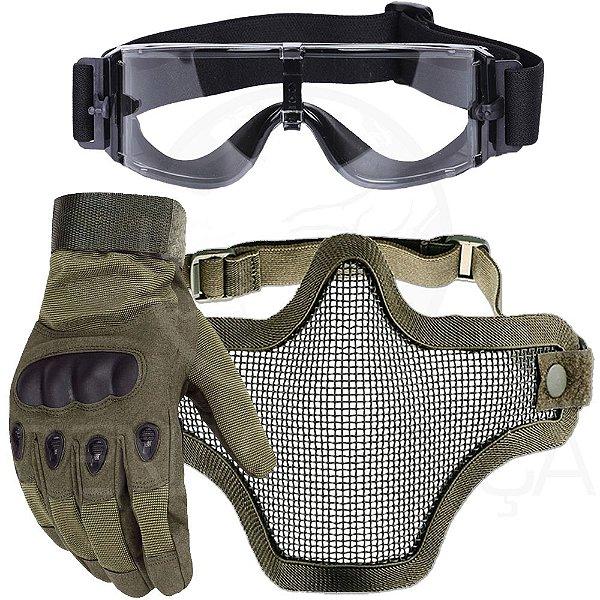 Kit Luva Tática Dedo Completo + Máscara Telada Airsoft + Óculos X800 Paintball - Verde